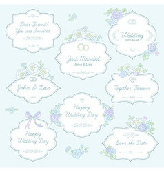floral wedding labels vector image vector image