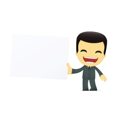 funny cartoon asian businessman vector image