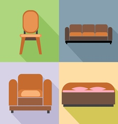 Furniture set in outlines Digital image vector image vector image
