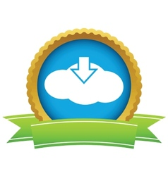 Gold download cloud logo vector