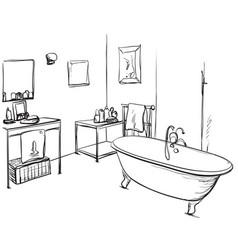 hand drawn bathroom washbasin and furniture vector image
