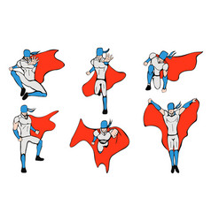 hand drawn hero models in various poses vector image vector image