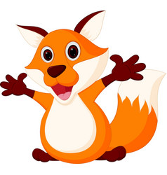 Happy fox cartoon vector