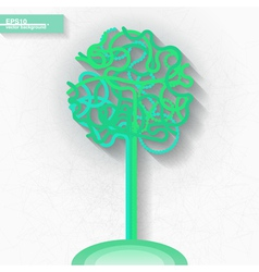 Infographic template with green tree vector image