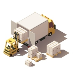 isometric forklift loading box truck with vector image