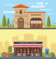 Landscape with restaurant and cafe vector image vector image