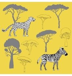 Leopard zebra and savanna trees vector image vector image