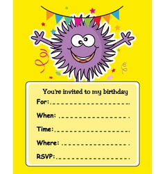 monster birthday card vector image vector image