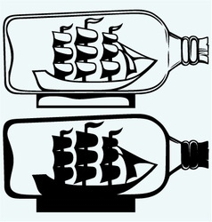 Old sailboat in glass bottle vector image vector image