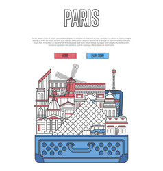 Paris city poster with open suitcase vector