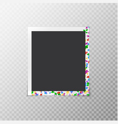 Photo frame with iridescent confetti vector