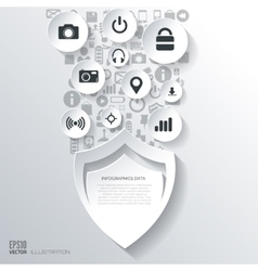 Protection shield icon flat abstract background vector