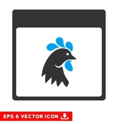 Rooster head calendar page eps icon vector