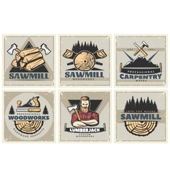 Sawmill Small Posters Set vector image
