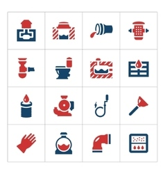 Set color icons of sewerage vector