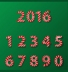 set of number in candy cane style vector image vector image