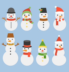 snowman collection for christmas and winter vector image vector image