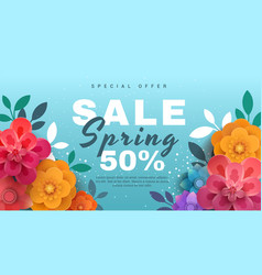 spring sale banner with paper flowers on a blue vector image vector image