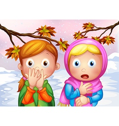 Two shocked young girls vector image