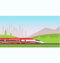 underground metro train and urban cityscape vector image vector image
