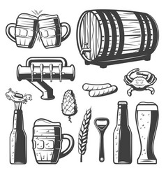 vintage beer elements collection vector image vector image