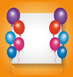 White board empty with frame balloons decoration vector