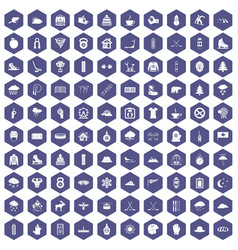 100 winter sport icons hexagon purple vector