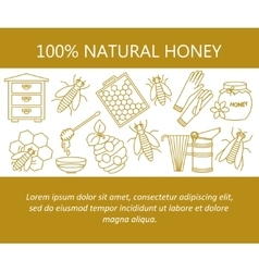 Honey card with thin line icons vector