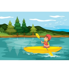 a boy in a boat vector image