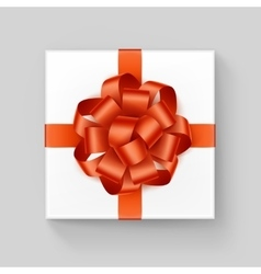 White square gift box with shiny orange ribbon bow vector