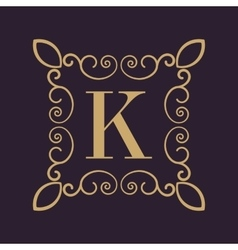 Monogram letter k calligraphic ornament gold vector