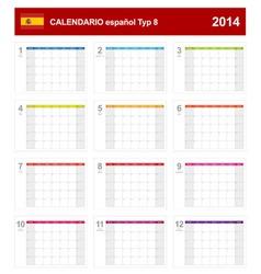 Calendar 2014 Spain Type 8 vector image