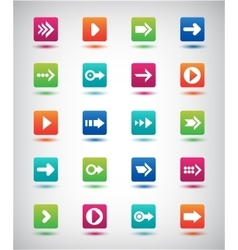 Arrow sign icon set simple square shape vector