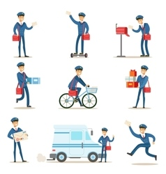 Postman in blue uniform with red bag delivering vector