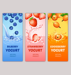 Cartoon natural milky products vertical banners vector