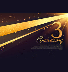 3rd anniversary celebration card template vector