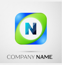 letter n logo symbol in the colorful square vector image