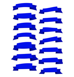 set of blue cartoon ribbons and banners vector image