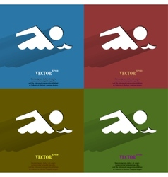 Color set swimmer pool flat modern web button with vector