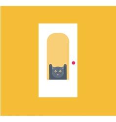 cat behid the door vector image