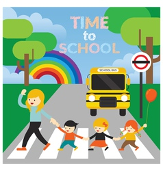 Teacher lead kids cross the street to school vector