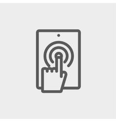 Touch mark in mobile phone thin line icon vector