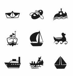 Ship and boat icon set vector