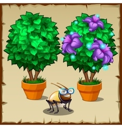 Set of two miniature potted trees and fun insect vector