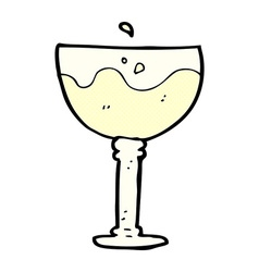 Comic cartoon glass of wine vector