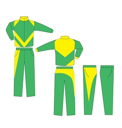 Green and yellow combination varsity uniform vector