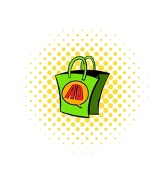 Shopping bag with ad letters icon comics style vector