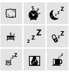 black sleep icon set vector image