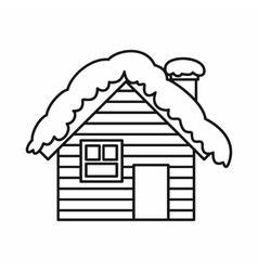 Wooden house covered with snow icon outline style vector image