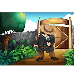 A detective at the backyard vector image vector image